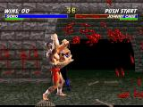 Mortal Kombat Trilogy PlayStation Cage's remaining health is about to finish, because Goro's Grab and Pound move is in action now!