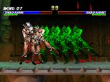 Mortal Kombat Trilogy PlayStation This time, 1P Shao Kahn blocks CPU Shao Kahn's current offensive: a front-charging move.
