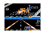 Pitstop II TRS-80 CoCo The red player is fueling up in the pits...