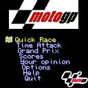 MotoGP ExEn Game Menu, you can select 1 of the 3 game modes. Quick race is a single race event, in time attack you select the track you want to race on and try to beat the record and the grand prix mode.