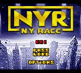 NYR: New York Race Game Boy Color Main menu.