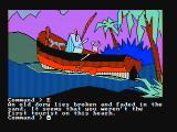 Mindshadow PC Booter An old dory lies broken and faded (CGA with composite monitor)