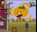 Porky Pig's Haunted Holiday SNES Remember to look both ways before cross the tracks!