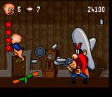 Porky Pig's Haunted Holiday SNES Boss: Yosemite Sam - Reflect his bullets to hit the weight above him