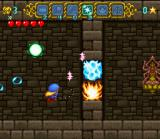 Magical Pop'n SNES Use the Ice move to turn fiery obstacle to ice and then slash it with your sword to break it