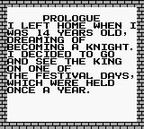 Knight Quest Game Boy Prologue