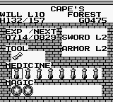 Knight Quest Game Boy Stats and inventory