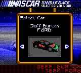 NASCAR 2000 Game Boy Color Choosing the driver.