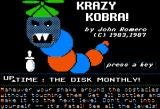 Krazy Kobra Apple II Title screen