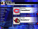NHL Championship 2000 Windows Main menu