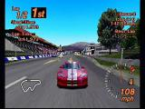 Gran Turismo 2 PlayStation Solid Snake. The Dodge Viper takes an early lead in the race in this rear view shot.