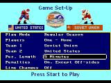 NHL Hockey Genesis Main menu