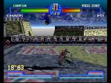 Battle Arena Toshinden 2 PlayStation High flying antics. Fo dodges Chaos' scythe with a high leap.