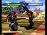 Battle Arena Toshinden 2 PlayStation Spear beats...uh...giant club? Rogue monk Mondo faces off against Rungo, who looks like a modern day version of Soul Blade's Rock.