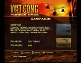 Vietcong: Purple Haze Xbox The campaign menu lets you pick your weapons for that level.