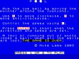 Pool ZX Spectrum Instructions