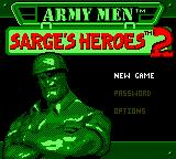Army Men: Sarge's Heroes 2 Game Boy Color Title screen / Main menu.