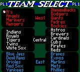 All-Star Baseball 2000 Game Boy Color Choosing a team.