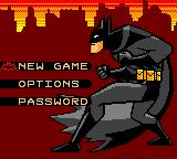 Batman: Chaos in Gotham Game Boy Color Main menu.