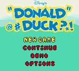 Disney's Donald Duck: Goin' Quackers Game Boy Color Title Screen/Main Menu