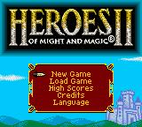 Heroes of Might and Magic II Game Boy Color Title screen / Main menu.