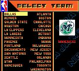 NBA Jam 99 Game Boy Color Choosing a team.
