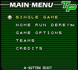 Triple Play 2001 Game Boy Color Menu screen.