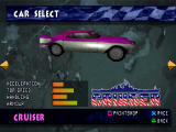 Demolition Racer PlayStation Car selection screen