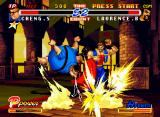 Real Bout Fatal Fury 2: The Newcomers Neo Geo CD Cheng Sinzan makes some damage in Laurence Blood through his sneezing-based move Fatty Bazooka.