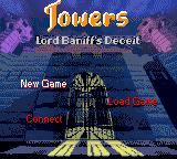 Towers: Lord Baniff's Deceit Game Boy Color Title screen / Main menu.