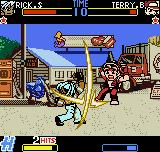 Fatal Fury: First Contact Neo Geo Pocket Color Terry Bogard goes to the heights after being struck with 2 hits of Rick Strowd's Hellion move!