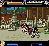 Fatal Fury: First Contact Neo Geo Pocket Color Mai Shiranui uses his rising-flying Musasabi no Mai move and connects an useful hit in Kim Kaphwan.