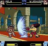 Fatal Fury: First Contact Neo Geo Pocket Color Wolfgang Krauser throws his Kaiser Wave in direction to Joe, forcing him to assume a guard position.