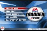 Madden NFL 2005 Game Boy Advance Main menu