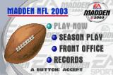 Madden NFL 2003 Game Boy Advance Main menu.