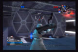 Star Wars: Battlefront II PlayStation 2 A heavy trooper, wielding a rocket launcher and wearing a skirt, defends the TIE fighter hangar bay