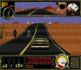Outlander SNES Driving you car. Unlike the Genesis version, you'll only see your car in 3rd person view.