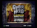 Guitar Hero PlayStation 2 The main menu