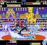 Fatal Fury: First Contact Neo Geo Pocket Color Billy Kane strikes back Joe Higashi using 2/6 hits of his flame-swinging Salamander Stream.