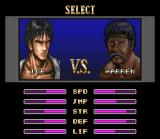 Deadly Moves SNES Single player opponent selection. Here you can compare how strong you and your future oponnent are, so you can choose the weakest (or anyone else).