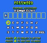 Walt Disney World Quest Magical Racing Tour Game Boy Color Password screen