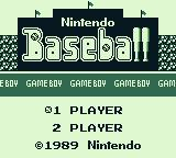 Baseball Game Boy Title screen/main menu