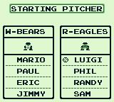 Baseball Game Boy Select your starters