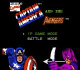 Captain America and the Avengers NES Title screen/main menu