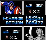 Captain America and the Avengers NES The switch characters screen