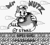 Mr. Nutz Game Boy Title screen / Main menu.