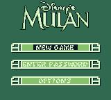Disney's Mulan Game Boy Main menu
