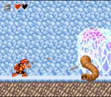 Super Adventure Island II SNES Boss-fight against a frozen mammoth