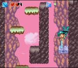 Super Adventure Island II SNES Using a new ability to destroy these rocks