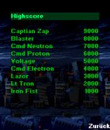 Apocalypse 3000 J2ME High score screen